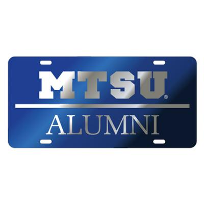 MTSU License Plate Royal with Silver MTSU Alumni
