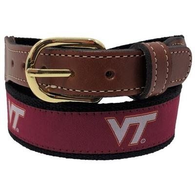 Virginia Tech Web Leather Belt