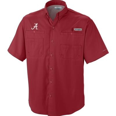 Alabama Columbia Tamiami II Woven Short Sleeve RED_VELVET