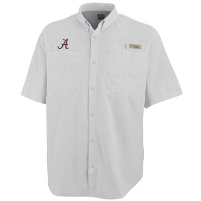 Alabama Columbia Tamiami II Woven Short Sleeve WHITE