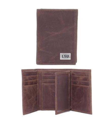 Lsu Leather Tri- Fold Wallet