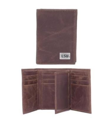 LSU Leather Tri-Fold Wallet