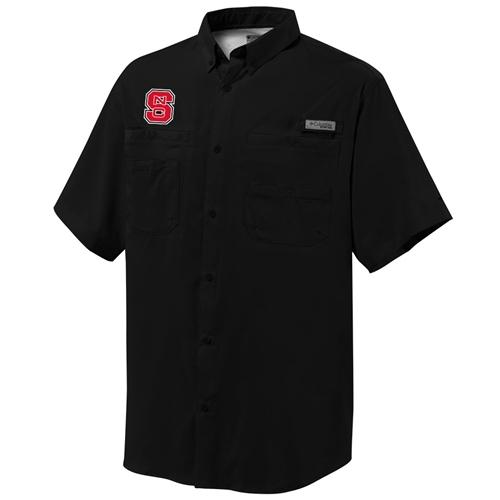 Nc State Columbia Tamiami Short- Sleeve Woven Shirt