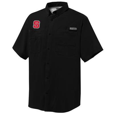 NC State Columbia Tamiami Short-Sleeve Woven Shirt BLACK