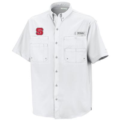 NC State Columbia Tamiami Short-Sleeve Woven Shirt WHITE