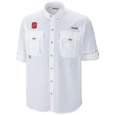 NC State Columbia Bahama Long Sleeve Woven Shirt WHITE