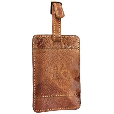 Kentucky Wildcats Leather Luggage Tag TAN