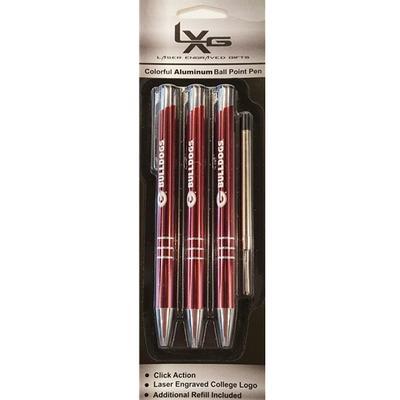 Georgia Aluminum Ball Point Pens 3-Pack RED