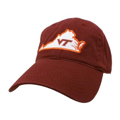 Virginia Tech Legacy Women's State Outline Adjustable Hat BURGUNDY
