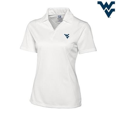 West Virginia Cutter and Buck DryTec Genre Polo WHITE