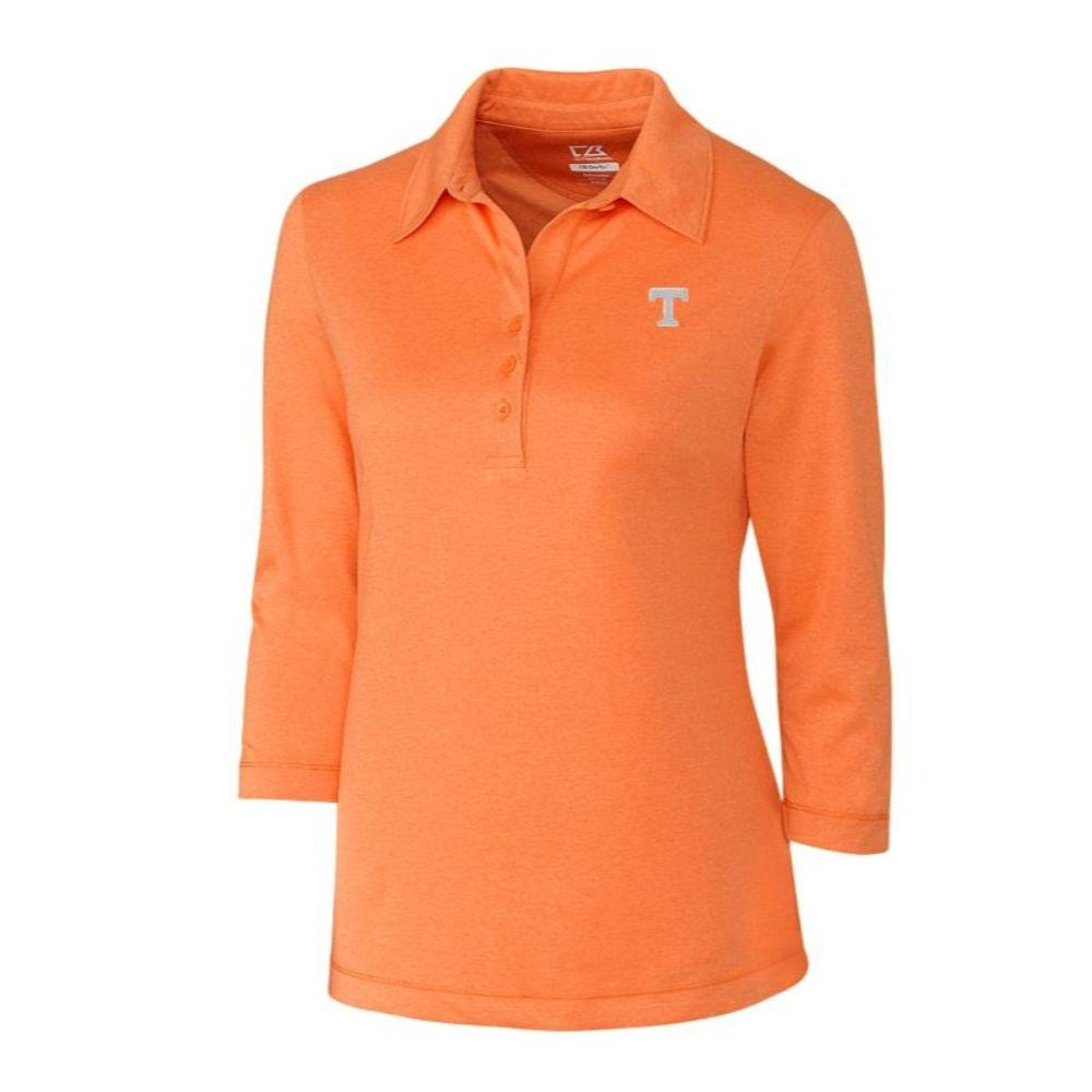Tennessee Cutter And Buck Women's Drytec 3/4 Sleeve Chelan Polo