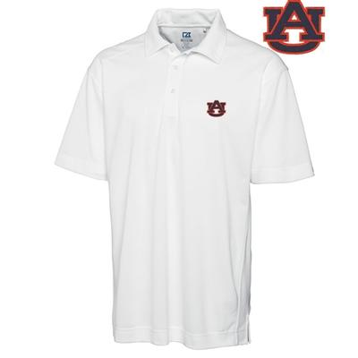 Auburn Cutter and Buck DryTec Genre Polo WHITE