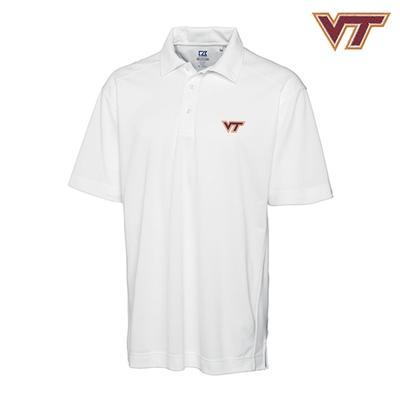 Virginia Tech Cutter and Buck DryTec Genre Polo WHITE