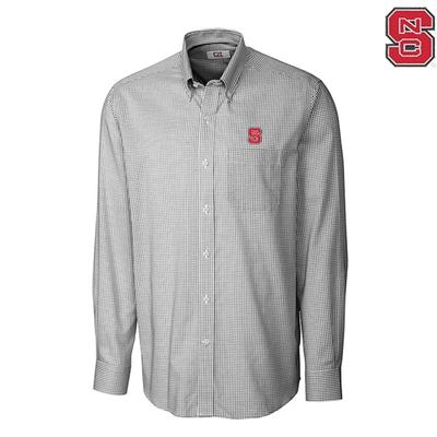 NC State Cutter and Buck Tattersall Woven Shirt