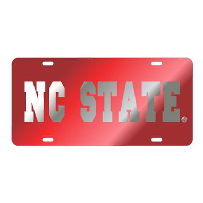 NC State License Plate Red with Silver NC State