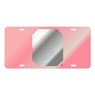 NC State License Plate Pink with Silver NC State