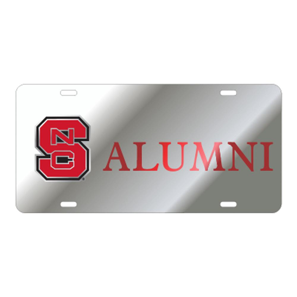 Nc State License Plate Silver/Red Ncs Alumni
