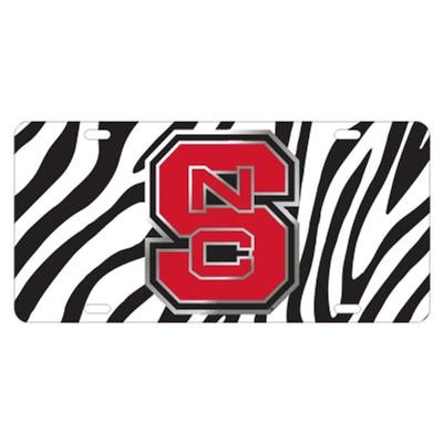 NC State License Plate Zebra Print with NCS Logo