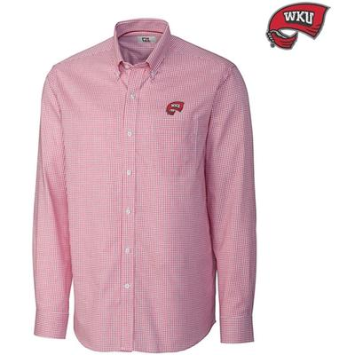 Western Kentucky Cutter and Buck Tattersall Woven Shirt