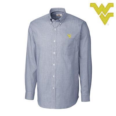 West Virginia Cutter and Buck Tattersall Woven Dress Shirt
