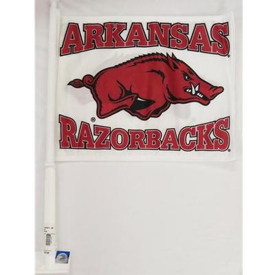 Arkansas Razorbacks Car Flag (White)