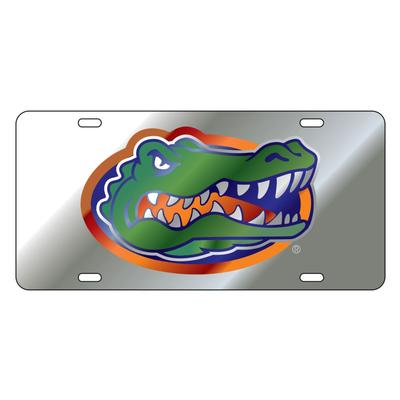 Florida License Plate Silver Gator Head