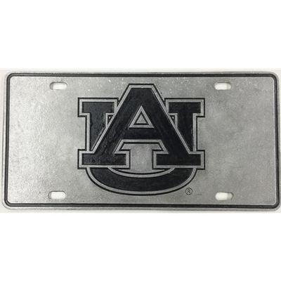 Auburn License Plate Pewter AU Logo