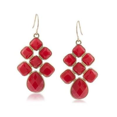 Red and Gold Red Faceted Cabochon Chandelier Earrings