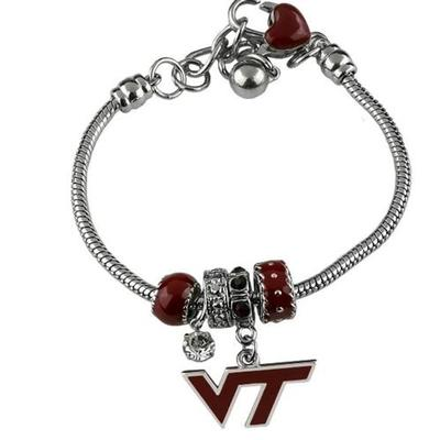 Virginia Tech Beaded Charm Bracelet