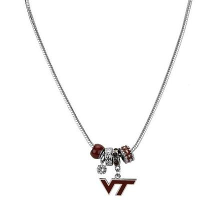 Virginia Tech Beaded Charm Necklace