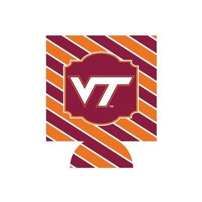 Virginia Tech Bias Stripe College Coozie