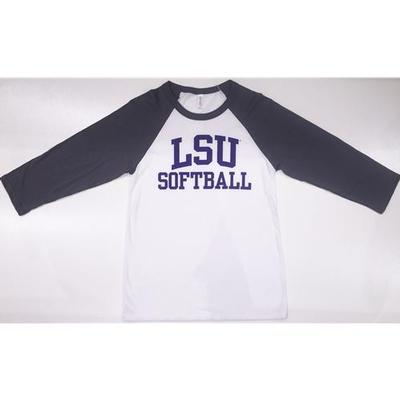 LSU Women's 3/4 Raglan Sleeve Softball Tee