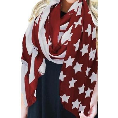 Crimson and White American Flag Scarf