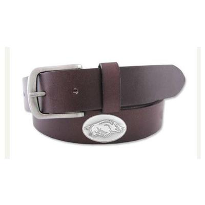 Arkansas Razorback Logo Concho Belt (Brown)