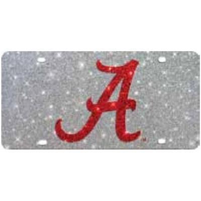 Alabama Script A Glitter License Plate