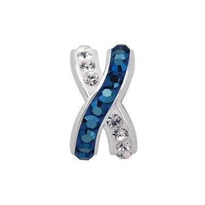 Royal and White Criss Cross Crystal Charm Bead