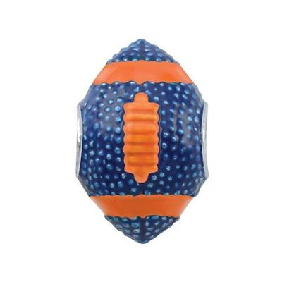 Navy and Orange 3D Football Charm Bead