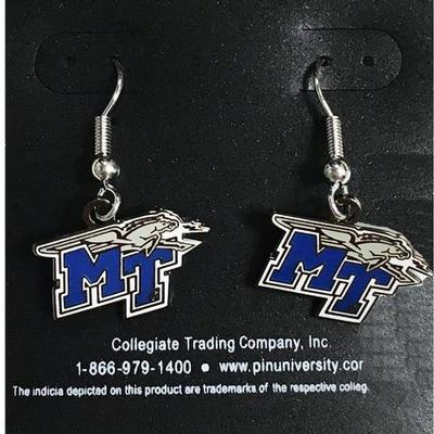 MTSU Dangle MT Logo Earrings