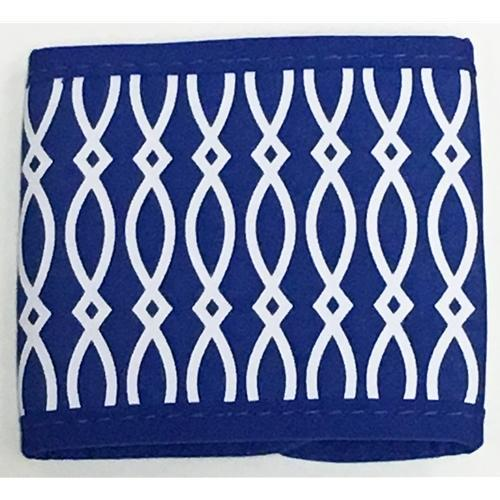 Blue and White Patterned Velcro Coozie