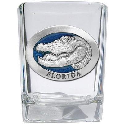 Florida Heritage Pewter Square Shot Glass (Blue Emblem)