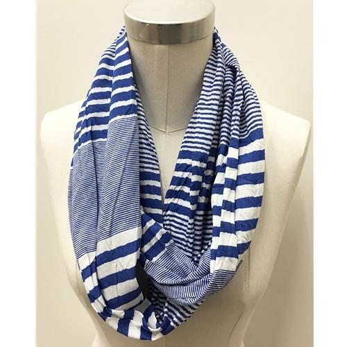 Blue And White Watercolor Stripe Infinity Scarf