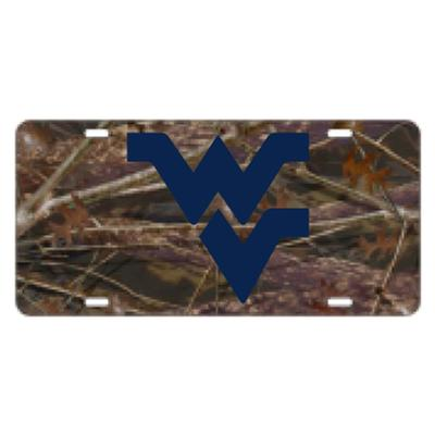 WVU License Plate Camo with Blue WVU Logo