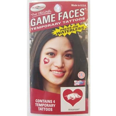 Arkansas Razorbacks Heart Face Tattoos (4-Pack)