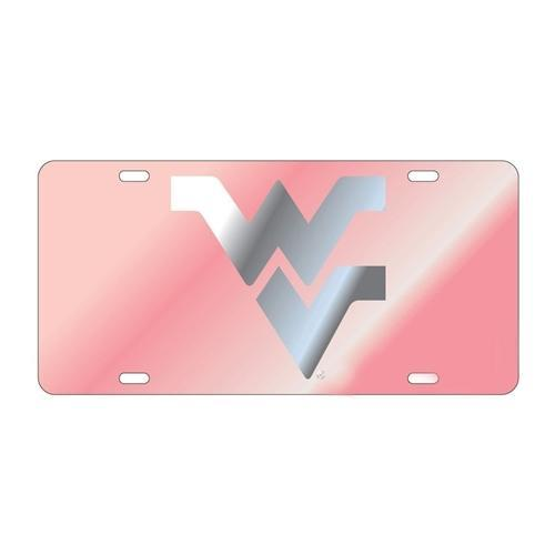 Wvu License Plate Pink With Silver Wvu