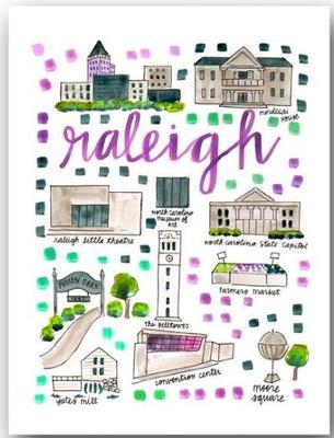 Raleigh North Carolina Map Print (8