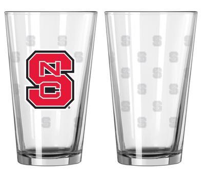 NC State 16oz Satin Etch Pint Glass