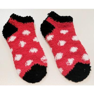 Black and Red Polka Dot Fuzzy Low Cut Socks