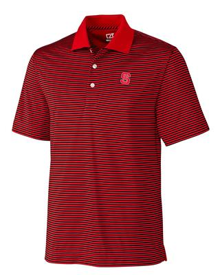 NC State Cutter and Buck DryTec Trevor Stripe Polo BLACK/RED