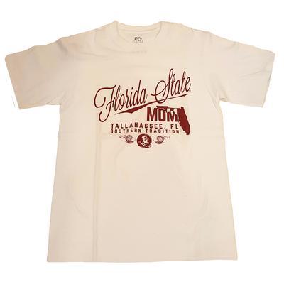 Florida State Mom Script Stack T-Shirt WHITE