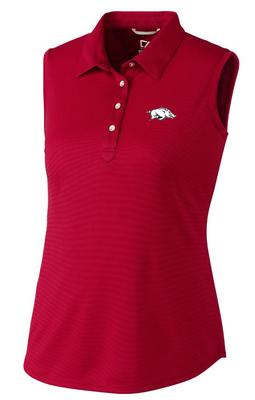 Arkansas Cutter and Buck Women's Sleeveless Clare Polo CARDINAL_RED